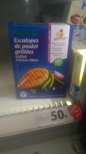 Yarden frozen chargrilled chicken fillets 350g bbd 02/18 50p tesco colchester