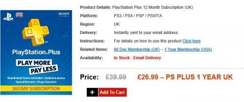 PSN Plus 1 Year - £26.99 @ Electronic First