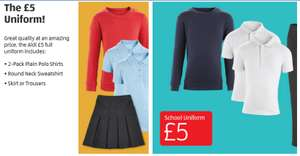 Aldi School Uniform Everything For £5 - includes 2-Pack Plain Polo Shirts + Round Neck Sweatshirt + Skirt or Trousers In store 13th July / Pre-order online 6th July