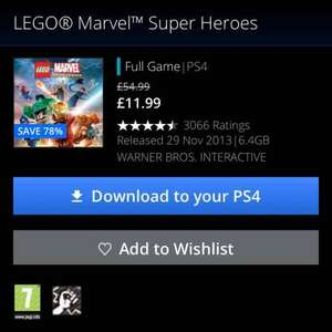 PS4 Lego Marvel Superheroes (PlayStation Store) £11.99