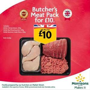 Butchers British Meat pack includes 500g chicken breast, 900g Beef roasting joint and 500g steak mince all for £10 @ Morrisons