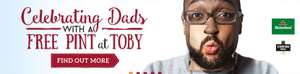 Free pint of Heineken, Stowford cider or unlimited soft drink for Dad's on Fathers Day when you buy a main meal @ Toby Carvery