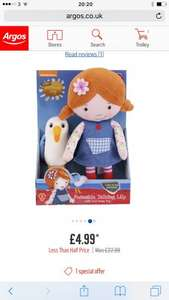 Was £22.99  Lilys Driftwood Bay Talking Poseable Lily Soft Toy with Gull - now £4.99 @ Argos (C&C)