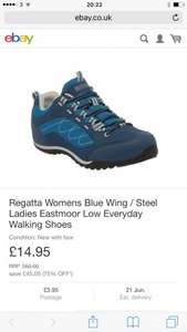 Regatta Womens Blue Wing / Steel Ladies EastmoorLow Everyday Walking Shoe Condition: New with box £14.95 RRP£60.00  save  £45.05 (75% OFF*) @ Regatta eBay store
