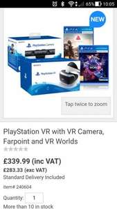 PlayStation VR with VR Camera, Farpoint and VR Worlds £339.99 @ Costco
