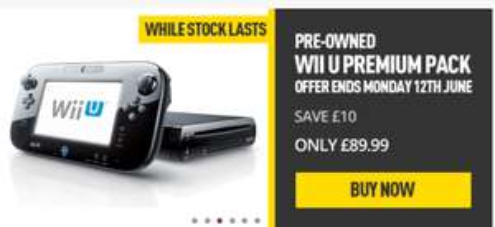 Wii U 32GB Premium Black Console (Fair Condition) Preowned £89.99 delivered @ Game