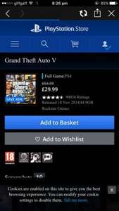 GTA V PS4 @ PLAYSTATION STORE for £29.99