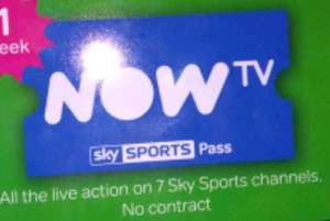 NowTV Week Sky Sports Pass 20% off - £8 - Asda