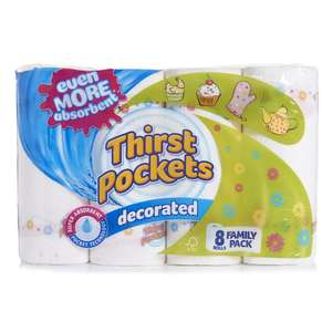 Thirst Pockets 8 Kitchen Rolls £2.06 @ Wilko