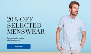 tesco f&f 20% off selected menswear offer on as fathers day treat