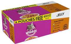 3 for £20 / £7.99 each Whiskas 32+8 free cat food pouches at Farmfoods