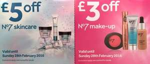 No7 Vouchers now Live - £5 off Skincare and £3 off Makeup - When you spend  £4+ instore at Boots