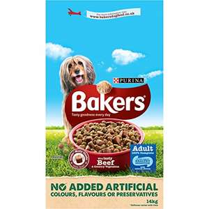 Bakers Adult Dog Food Beef and Veg, 14 kg amazon prime for £20.99