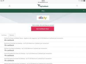 4% ebay on all categories sales @ topcashback Max £50 online via mobile device