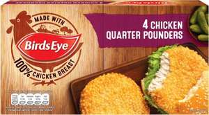 Birds Eye Chicken Quarter Pounders (4 = 454g) was £2.75 now £2.00 @ Tesco