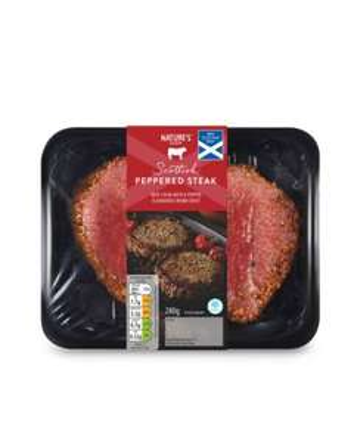 Scottish Peppered Beef Steak (280g) now £2.69 ( 9.61 per kg)  Beef Steak with a Pepper Crust @ Aldi