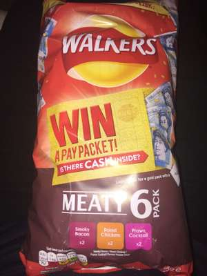 Walkers 6 pack crisps meaty variety 69p @ Heron (win cash packs are back!)