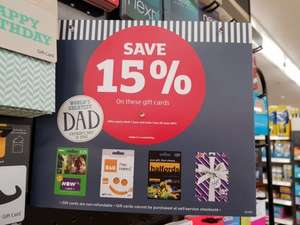 Save 15% on Selected Gift Cards at sainsbury's