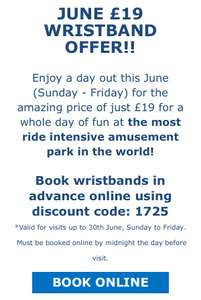 Blackpool Pleasures Beach Wristband £19