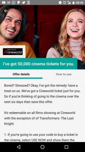 50,000 FREE Cinema Tickets @ Cineworld via the Wuntu App (Three Customers only)