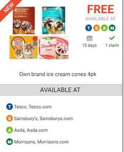 Four/Six pack free ice creams via Checkoutsmart