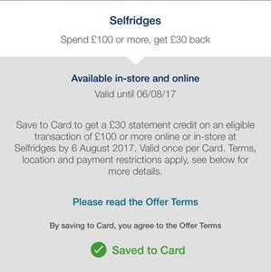 Amex offer: Selfridges spend £100 or more, get £30 back @ American Express
