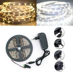 5M SMD 2835 300 LED White/Warm White LED Strip Flexible Light + Power Supply + Connector DC 12V £4.22 Delivered @ Banggood