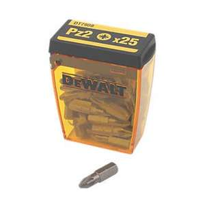 DeWalt Pozi Screwdriver Bit Box PZ#2 x 25mm Pk25 was £5.99 now £3.49 @ Screwfix
