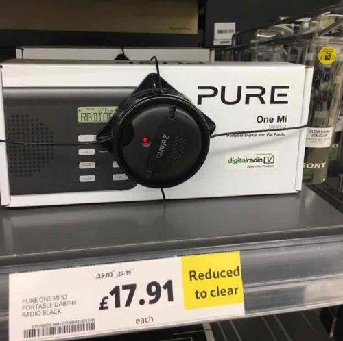 Pure ONE Mi DAB portable radio £17.91 instore @ tesco extra Stretford