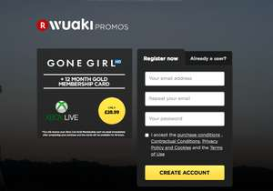 12 Month's Xbox Live Gold (& Gone Girl HD Rental) - £28.99 - Wuaki