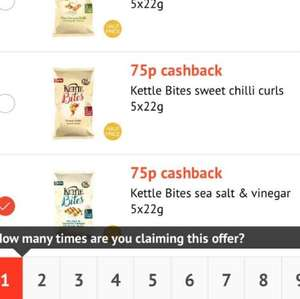 Kettle Bites 5x22g Multipack just 25p @ Tesco using Checkout Smart App - 4 flavours and 9 claims per flavour