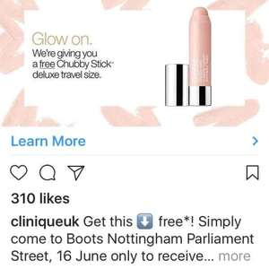 Free Clinique Chubby Stick instore  @ Boots Nottingham - poss national