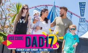 Blackpool Pleasure Beach dad's go free this Fathers Day (when you buy  least one other wristband) wristbands £19 with code
