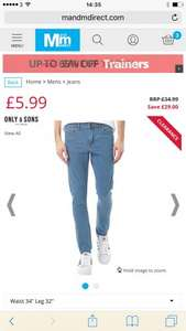 ONLY & SONS Mens Super Extreme Warp Skinny Jeans Light Blue - £5.99 + £4.49 P&P @ M&M Direct