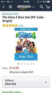 Sims 4: dine out game pack (Digital code) Cheaper on Amazon (£14.99) than on origin (£17.99)!
