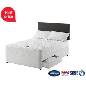 Silentnight Taplow Double Divan Bed with 2 Drawers, Miracoil Comfort Was £419.00 now £209.50 @ Tesco