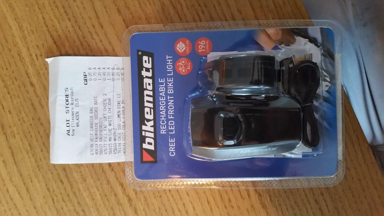 Aldi Bikemate - 196 lumen, 3W, CREE, USB front bike light £3.29 instore @ Aldi Walkden