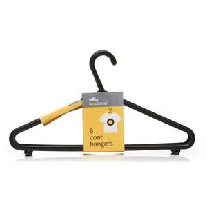 Functional Coat Hangers Black [8pk] 50p @ Wilko