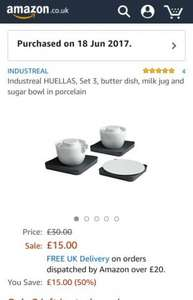 Industreal HUELLAS, Set 3, butter dish, milk jug and sugar bowl in porcelain £15 Prime / £19.75 Non Prime @ Amazon