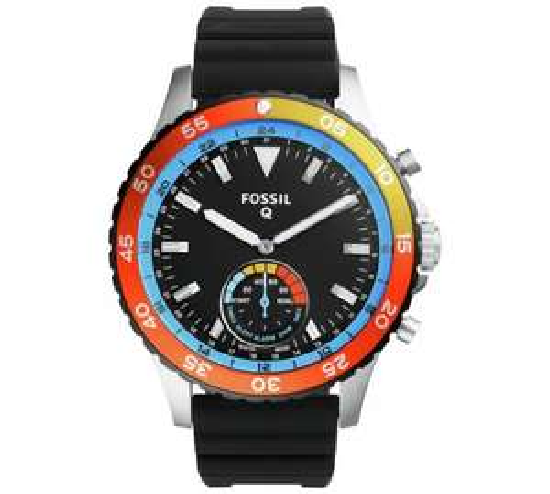 Fossil Q Crewmaster Hybrid Black Silicone Strap Smart Watch - Argos - £145