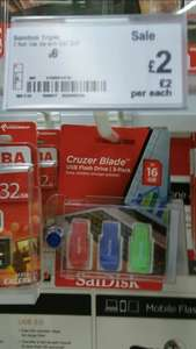 SanDisk Cruzer blade 3x 16gb £2 @ asda instore