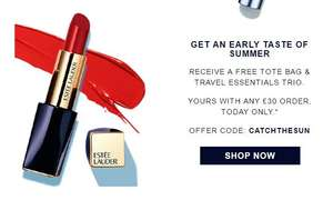 Free tote bag and travel essentials trio plus 2 free samples and free delivery wys £30 today only @ Estee Lauder