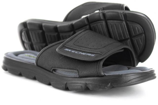 SKECHERS Boys Wind Swell Comfort Slider Sandals Black/Charcoal £14.99 + £4.49 p&p - MandM