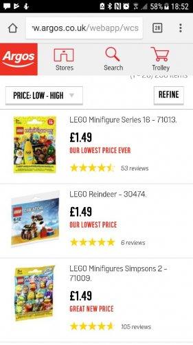 Lego Minifigures Good Price £1.49 @ Argos