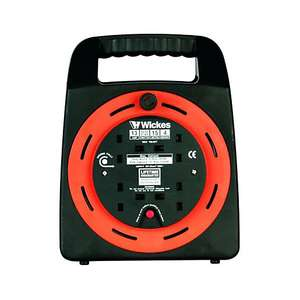 Wickes extension cable reel 15m with 4 sockets - £13.99