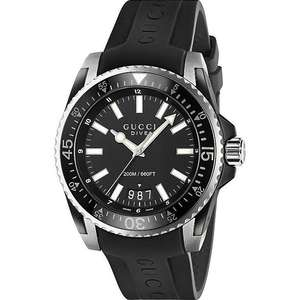 GUCCI DIVE 45 MEN'S BLACK RUBBER STRAP WATCH £345 @ Ernest Jones