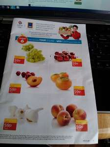 Aldi Super 6 -  59P - 170g Grapes (green) 200g Cherries 400g Plums 3 pack Sharon Fruit 4 pack Garlic 4/5 pack Peaches
