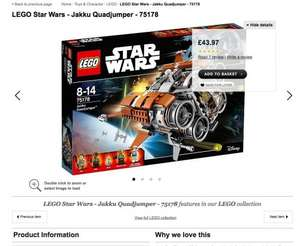 Lego Star Wars Jakku Quadjumper 75178 £43.97 @ Asda direct