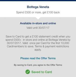 Amex offer: Bottega Veneta Spend £500 or more, get £100 back