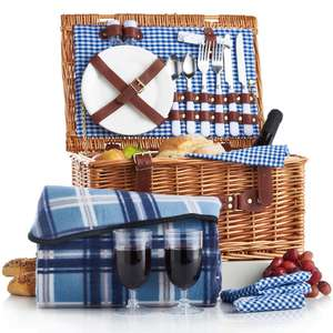 2 person wicker picnic basket now £29.99 delivered + Two year warranty @ Domu